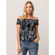 SKY AND SPARROW Tie Dye Off The Shoulder Womens Babydoll Top