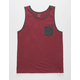 BLUE CROWN Burgundy Mens Pocket Tank Top
