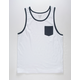 BLUE CROWN White Mens Pocket Tank Top