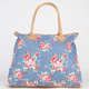 Chambray Floral Canvas Tote Bag