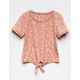 WHITE FAWN Floral Tie Front Girls Tee