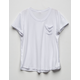 BOZZOLO White Girls Slouch Pocket Tee