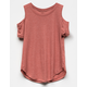BOZZOLO Rib Cold Shoulder Rust Girls Top