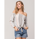 ROXY Crossing Stripes Womens Off The Shoulder Top