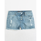 SCISSOR Exposed Button Girls Ripped Denim Shorts