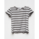 FULL TILT Stripe Lettuce Edge Girls Tee