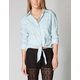 MIMI CHICA Basic Womens Tie Front Chambray Shirt