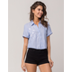 SOCIALITE Embroidered Roses Womens Stripe Camp Shirt