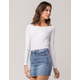 WHITE FAWN Ribbed Off The Shoulder Womens Top