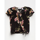 WHITE FAWN Surplice Floral Girls Top
