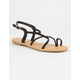 DEL MAR Braided Cross Strap Black Womens Sandals