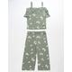 WHITE FAWN Floral Girls Off The Shoulder Top And Pants Set