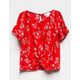 WHITE FAWN Twist Front Floral Girls Top
