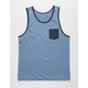 BLUE CROWN Blue Mens Pocket Tank Top