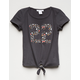 WHITE FAWN 22 Ditsy Tie Front Girls Tee