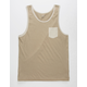 BLUE CROWN Khaki Mens Pocket Tank Top