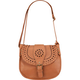 Faux Leather Perforated Buckle Crossbody Bag