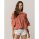 COCO & JAIMESON Off The Shoulder Floral Womens Top