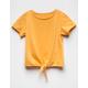 FULL TILT Essentials Tie Front Mustard Girls Tee