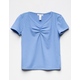 FULL TILT Solid Blue Cinch Front Girls Tee
