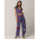 DEREK HEART Floral Wrap Womens Top And Pants Set