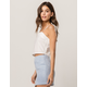 IVY & MAIN Solid Tie Shoulder Womens Crop Tank