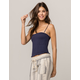 IVY & MAIN Smocked Navy Womens Crop Cami
