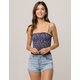 IVY & MAIN Smocked Floral Womens Crop Cami