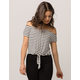 IVY & MAIN Stripe Womens Tie Front Top