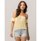 IVY & MAIN Off The Shoulder Yellow Womens Crop Top