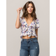 IVY & MAIN Floral Peplum Womens Tie Front Top
