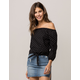 IVY & MAIN Tie Front Polka Dot Womens Off The Shoulder Top