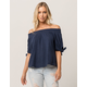 ROXY Caribbean Mood Womens Off The Shoulder Navy Top