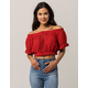 PATRONS OF PEACE Off The Shoulder Womens Crop Top