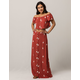 SKY AND SPARROW Floral Off The Shoulder Womens Top And Maxi Skirt Set