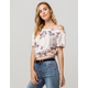SKY AND SPARROW Floral Cream Womens Off The Shoulder Top