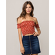 SKY AND SPARROW Smocked Floral Off The Shoulder Womens Tube Top