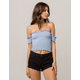 SKY AND SPARROW Smocked Off The Shoulder Womens Tube Top