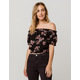 SKY AND SPARROW Floral Black Womens Off The Shoulder Top