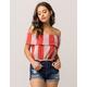 SKY AND SPARROW Ruffle Stripe Womens Tube Top