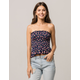 SKY AND SPARROW Smocked Floral Womens Peplum Tube Top
