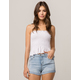 SKY AND SPARROW Smocked White Womens Peplum Tube Top