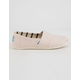TOMS Pink Whisper Heritage Canvas Girls Classic Slip-Ons