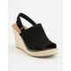 TOMS Black Suede Monica Womens Wedges