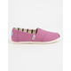 TOMS Deep Mauve Heritage Canvas Girls Classic Slip-Ons