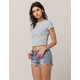 INDIGO REIN Embroidered Ripped Womens Denim Shorts