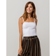 BOZZOLO Ribbed Crop White Womens Tank Top