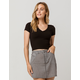 DESTINED V-Neck Black Womens Crop Tee