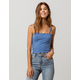 BOZZOLO Ribbed Crop Blue Womens Tank Top