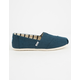 TOMS Majolica Blue Heritage Canvas Womens Classic Slip-Ons